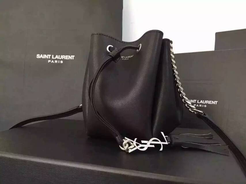 2015 New Saint Laurent Bag Cheap Sale-Saint Laurent Small Emmanuelle Bucket Bag in Black Leather
