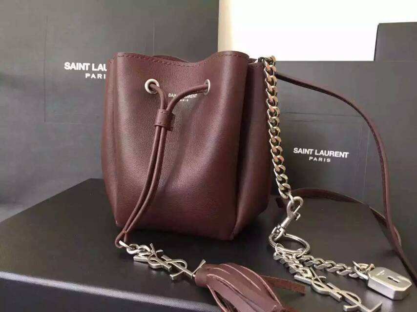 2015 New Saint Laurent Bag Cheap Sale-Saint Laurent Small Emmanuelle Bucket Bag in Burgundy Leather