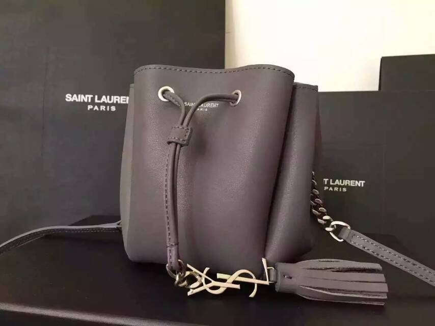 2015 New Saint Laurent Bag Cheap Sale-Saint Laurent Small Emmanuelle Bucket Bag in Grey Leather
