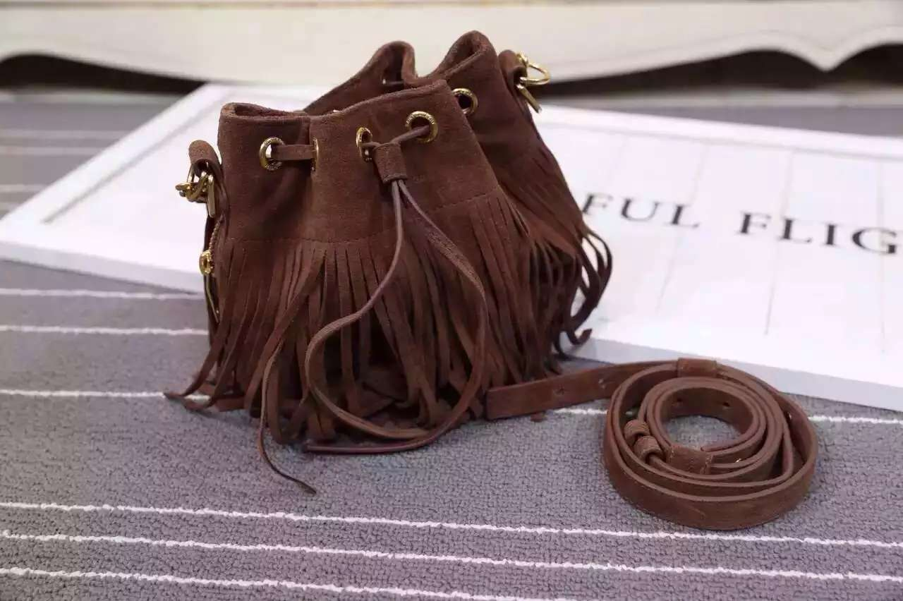 2016 New Saint Laurent Bag Cheap Sale-Saint Laurent Emmanuelle Fringed Bucket Bag in Brown Suede and Leather