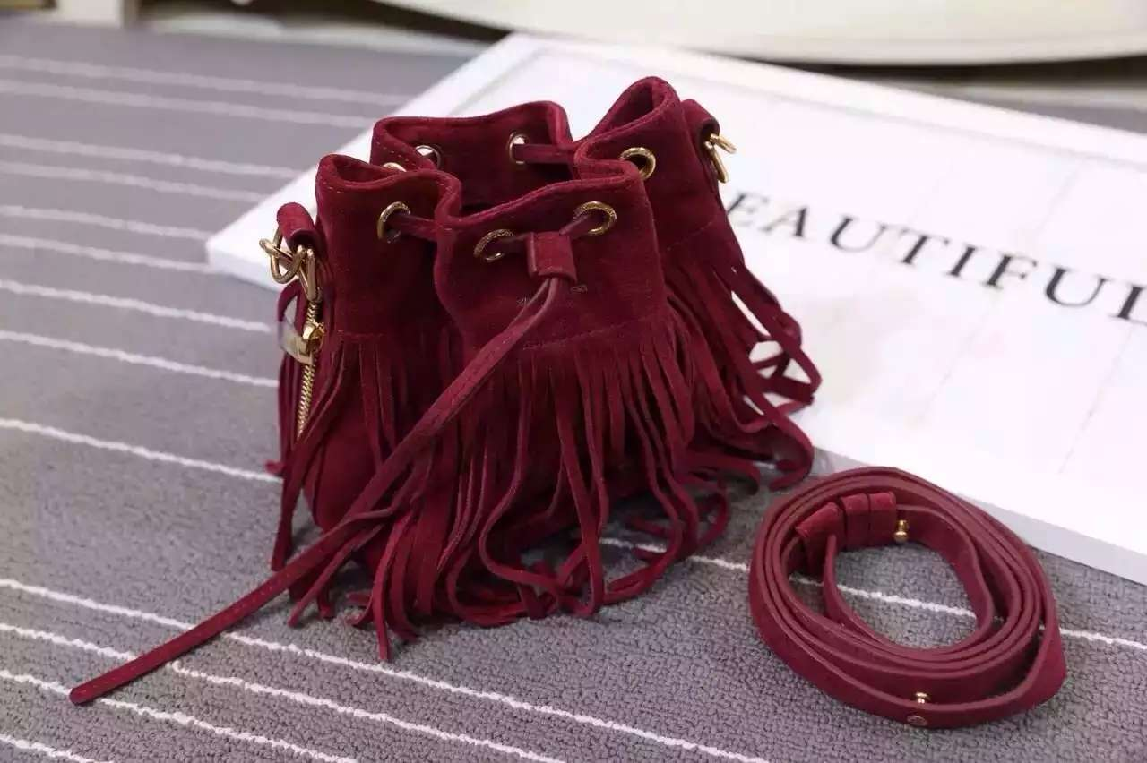 2016 New Saint Laurent Bag Cheap Sale-Saint Laurent Emmanuelle Fringed Bucket Bag in Burgundy Suede and Leather