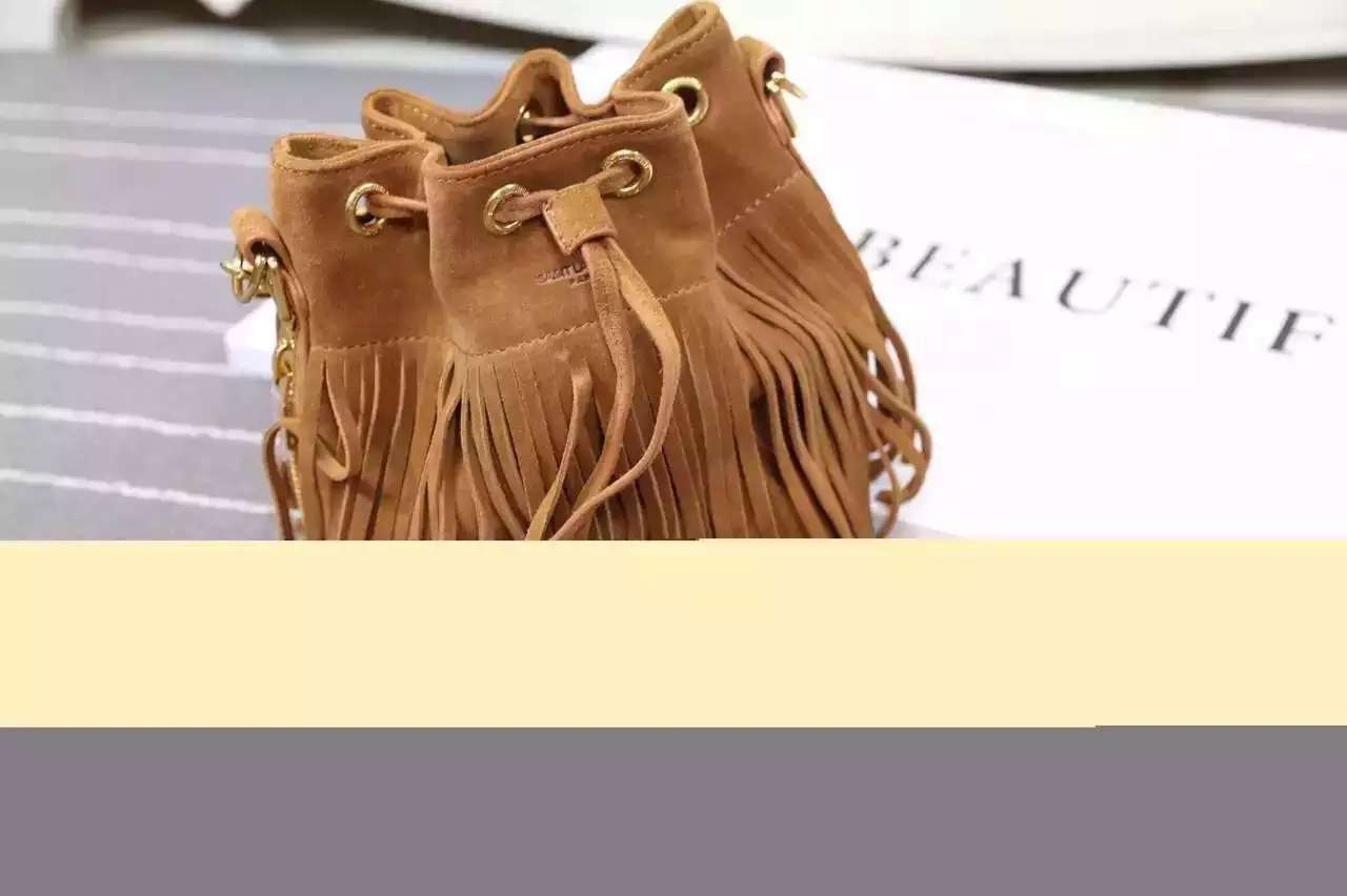 2016 New Saint Laurent Bag Cheap Sale-Saint Laurent Emmanuelle Fringed Bucket Bag in Camel Suede and Leather