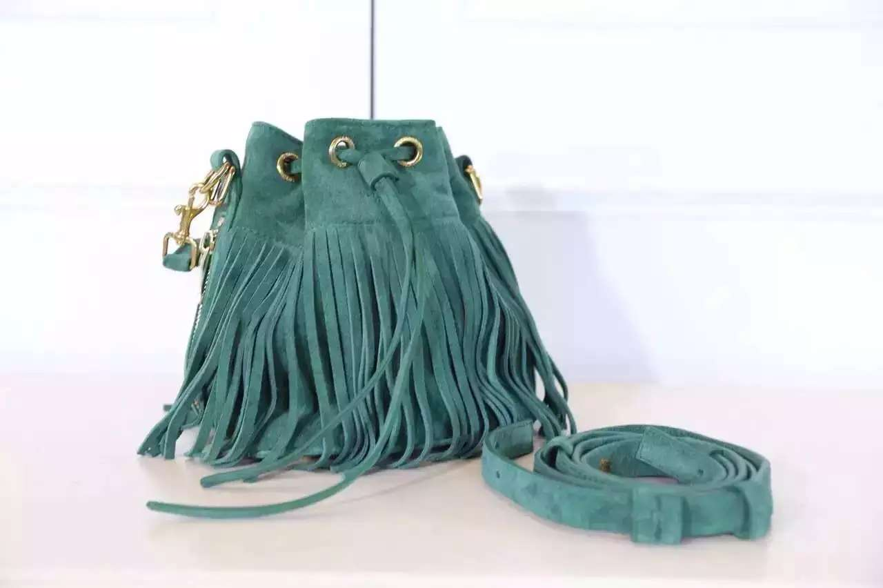 2016 New Saint Laurent Bag Cheap Sale-Saint Laurent Emmanuelle Fringed Bucket Bag in Green Suede and Leather