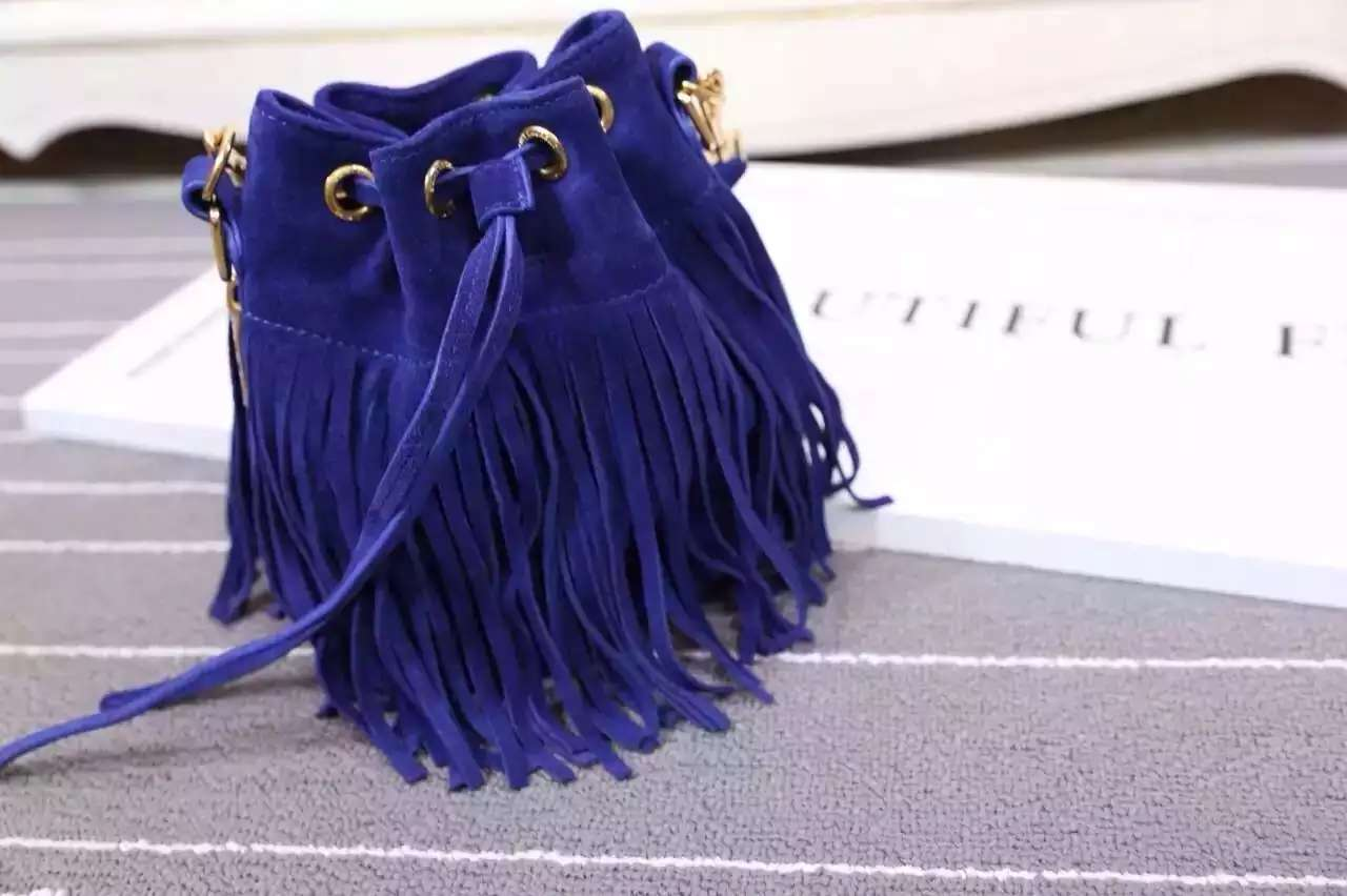 2016 New Saint Laurent Bag Cheap Sale-Saint Laurent Emmanuelle Fringed Bucket Bag in Royal Blue Suede and Leather