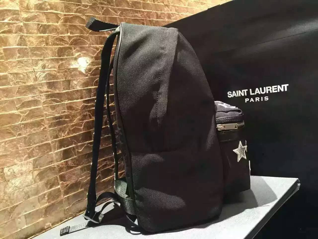 2016 Saint Laurent Bags Cheap Sale-Saint Laurent Classic Hunting California Backpack in Black Nylon and Silver Metallic Leather