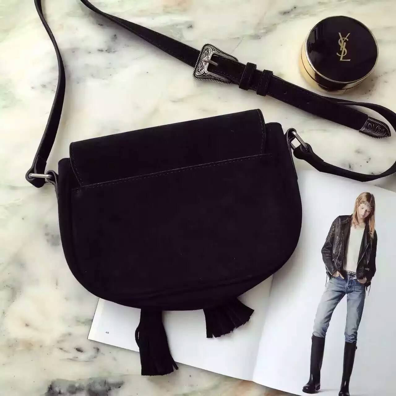 Limited Edition!2016 Saint Laurent Bags Cheap Sale-Saint Laurent Kim Cross Bag in Black suede Leather