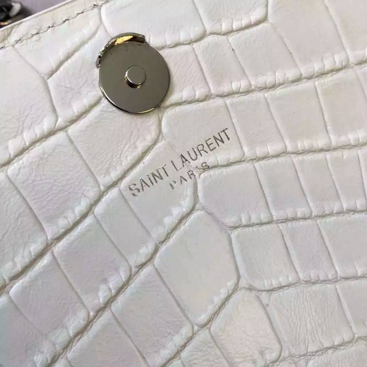 S/S 2016 New Saint Laurent Bag Cheap Sale-Saint Laurent Medium Monogram Satchel in Dove White Crocodile Embossed Leather
