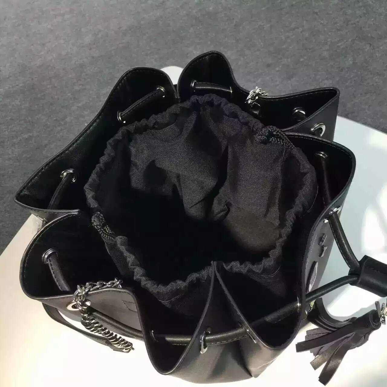 Limited Edition!2016 New Saint Laurent Bag Cheap Sale-Saint Laurent Medium Emmanuelle Bucket Bag in Black Leather with Lipstick Decoration