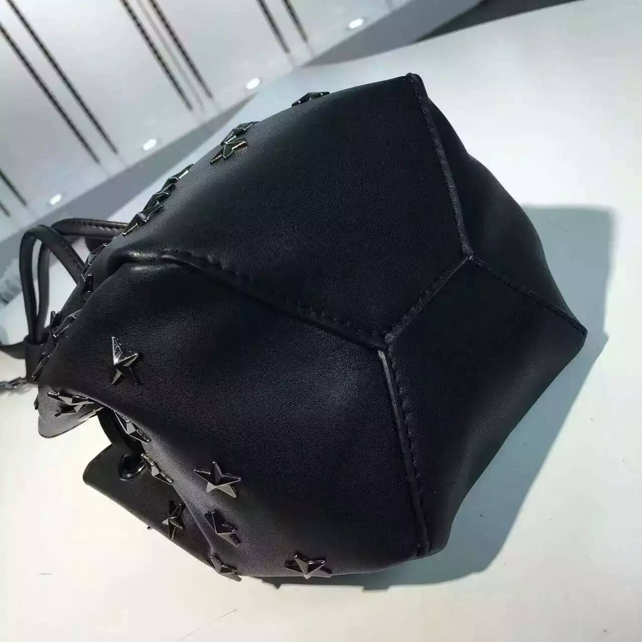 Limited Edition!2016 New Saint Laurent Bag Cheap Sale-Saint Laurent Medium Emmanuelle Bucket Bag in Black Leather with Stars