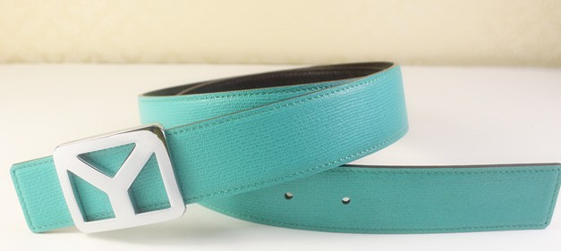 2013 new YSL belt in lake green with silver Y buckle,Ysl belt outlet