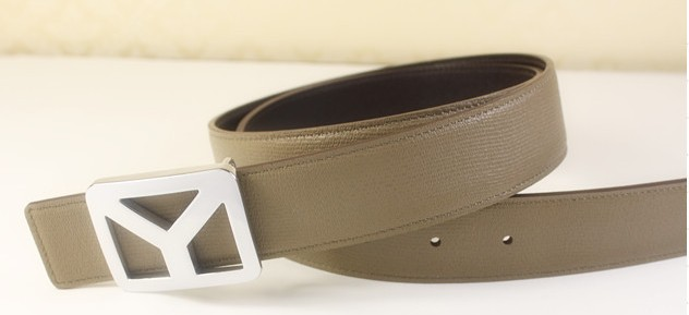 2013 new YSL belt in beige with silver Y buckle,Ysl belt outlet