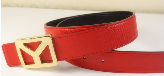 2013 new YSL belt with gold Y buckle red,Ysl belt outlet