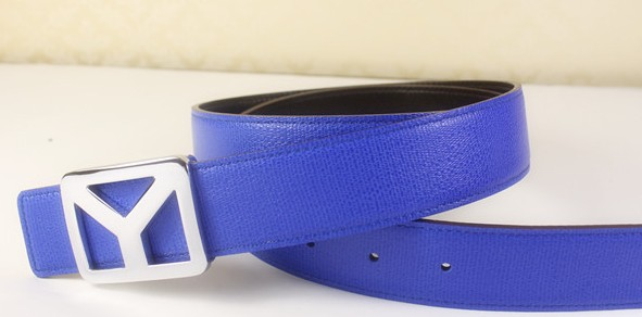 2013 new YSL belt in blue with silver Y buckle,Ysl belt outlet
