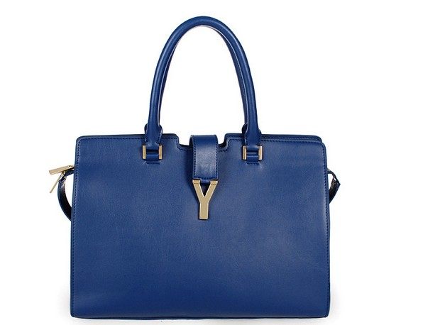 2013 Cheap Saint Laurent Petit Cabas Y in blue Leather