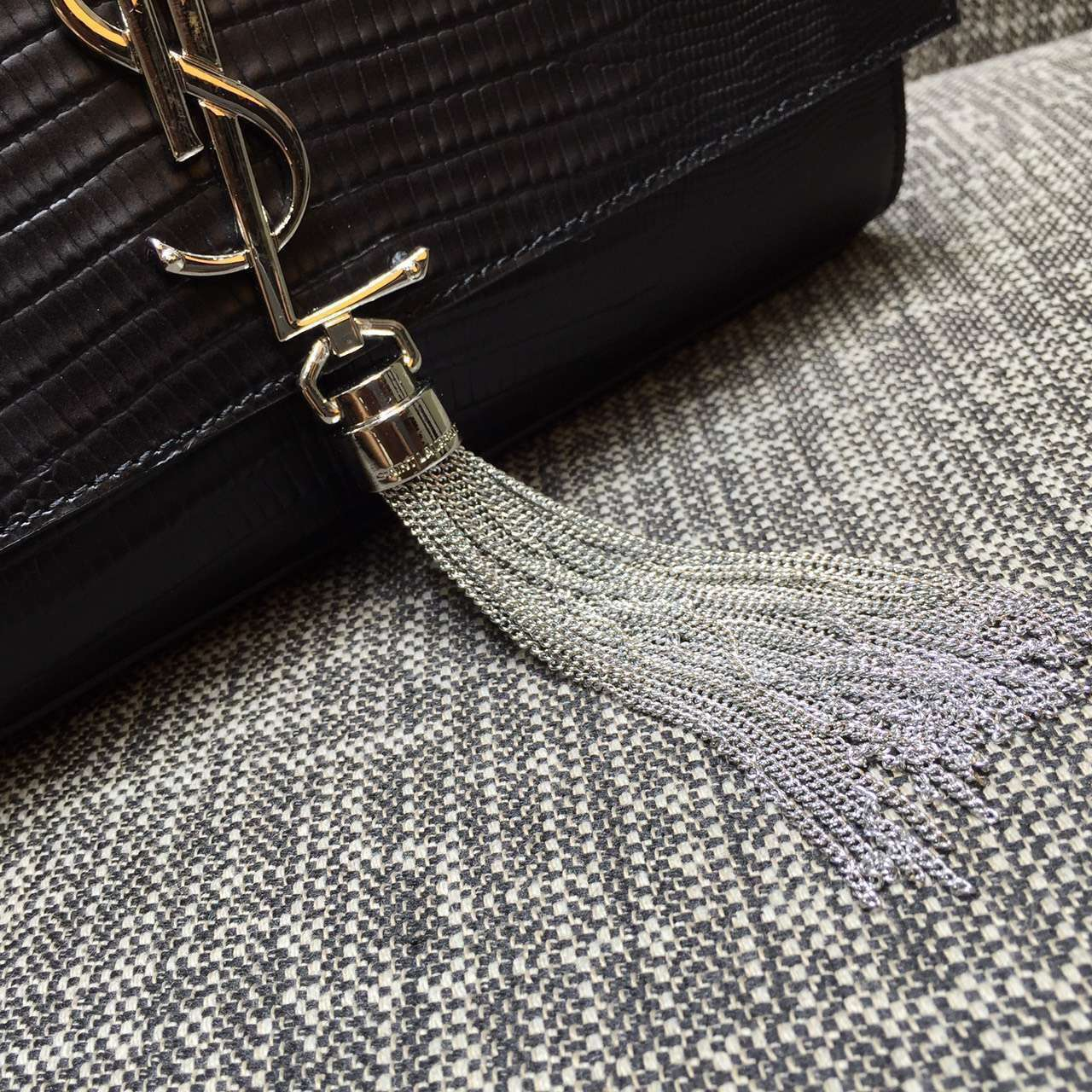 2015 New Saint Laurent Bag Cheap Sale-Saint Laurent Classic Medium Monogram Tassel Satchel in Black Lizard Embossed Leather