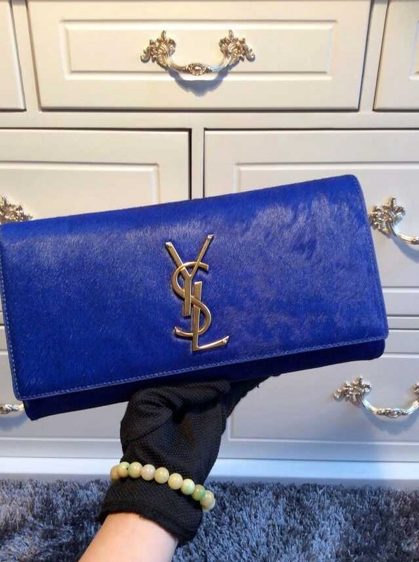 2015 New Saint Laurent Bag Cheap Sale- YSL PONY LEATHER CLUTCH IN BLUE
