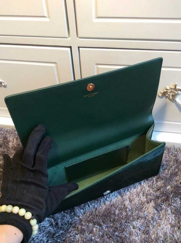 2015 New Saint Laurent Bag Cheap Sale- YSL PONY LEATHER CLUTCH IN GREEN