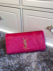 2015 New Saint Laurent Bag Cheap Sale- YSL PONY LEATHER CLUTCH IN ROSE
