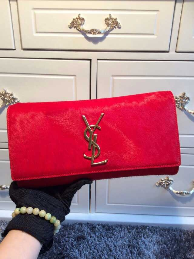 2015 New Saint Laurent Bag Cheap Sale- YSL PONY LEATHER CLUTCH IN RED