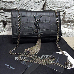 2015 New Saint Laurent Bag Cheap Sale-Classic Saint Laurent Tassel Satchel in Superior Crocodile Embossed Calf Leather