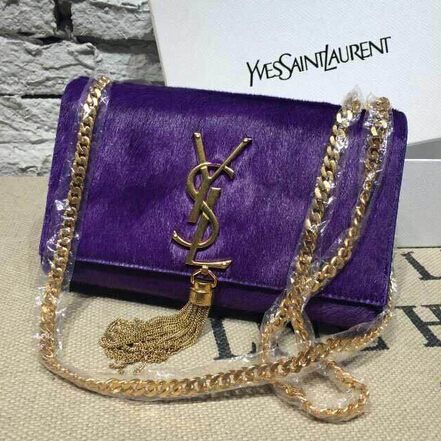 2015 New Saint Laurent Bag Cheap Sale- YSL Horsehair Metallic Tassel Chain Bag in Purple