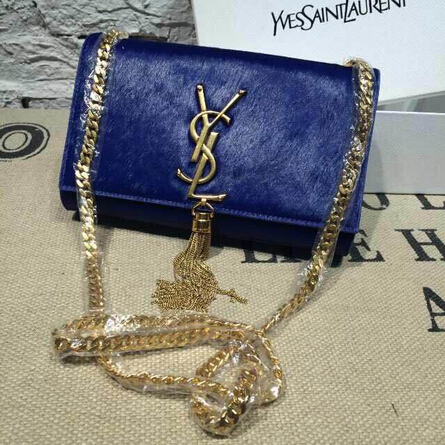 2015 New Saint Laurent Bag Cheap Sale- YSL Horsehair Metallic Tassel Chain Bag in Royal Blue