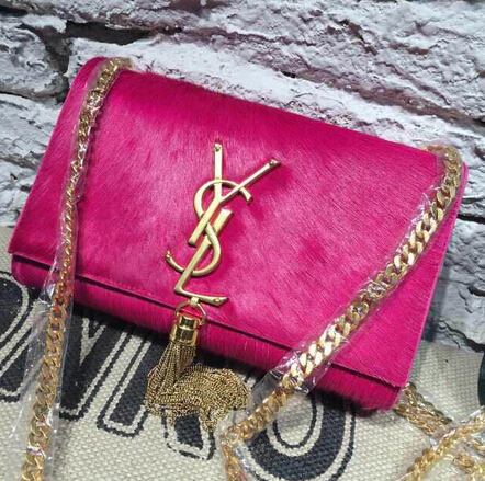 2015 New Saint Laurent Bag Cheap Sale- YSL Horsehair Metallic Tassel Chain Bag in Rose