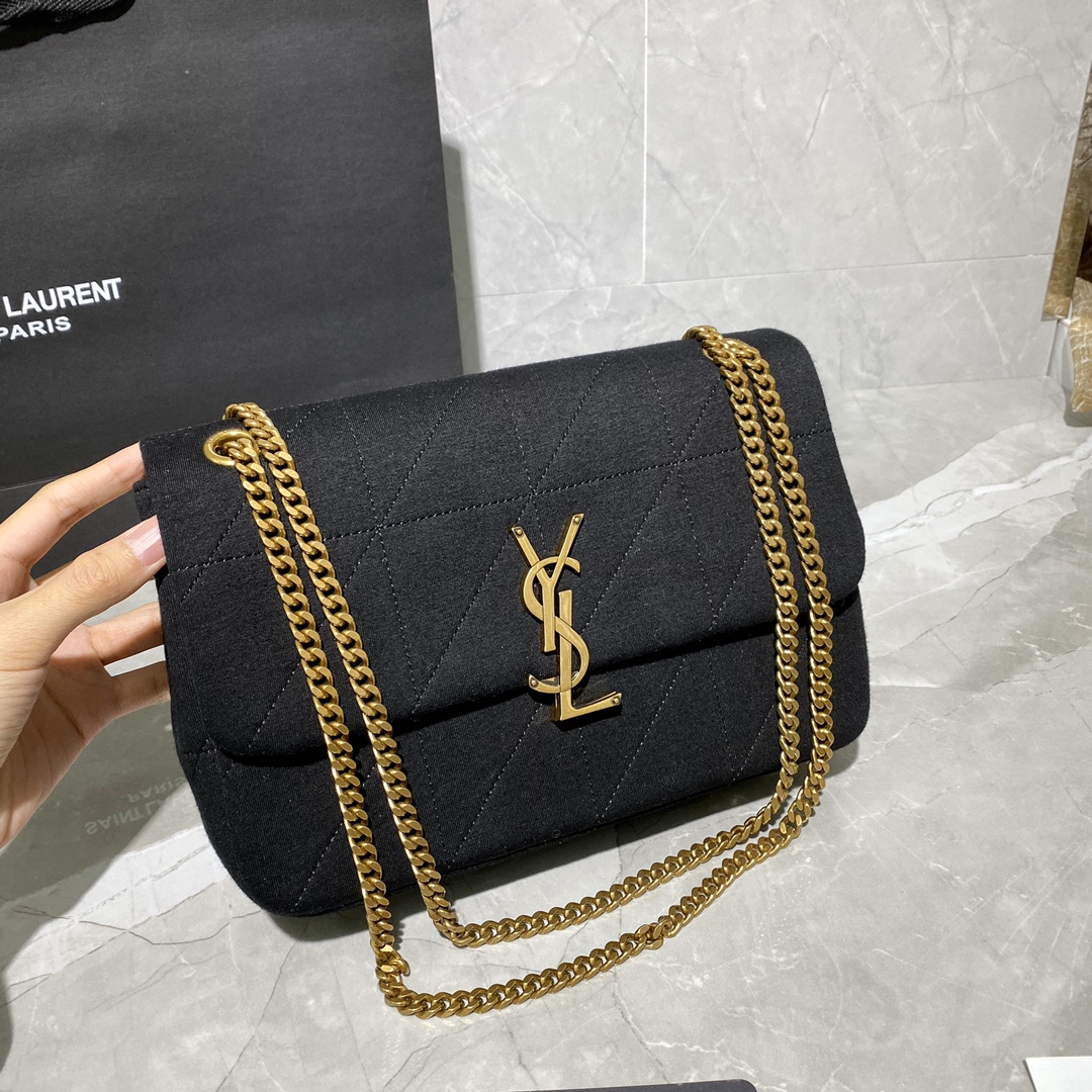 "2020 Saint Laurent jamie medium ""carré rive gauche"" in black"