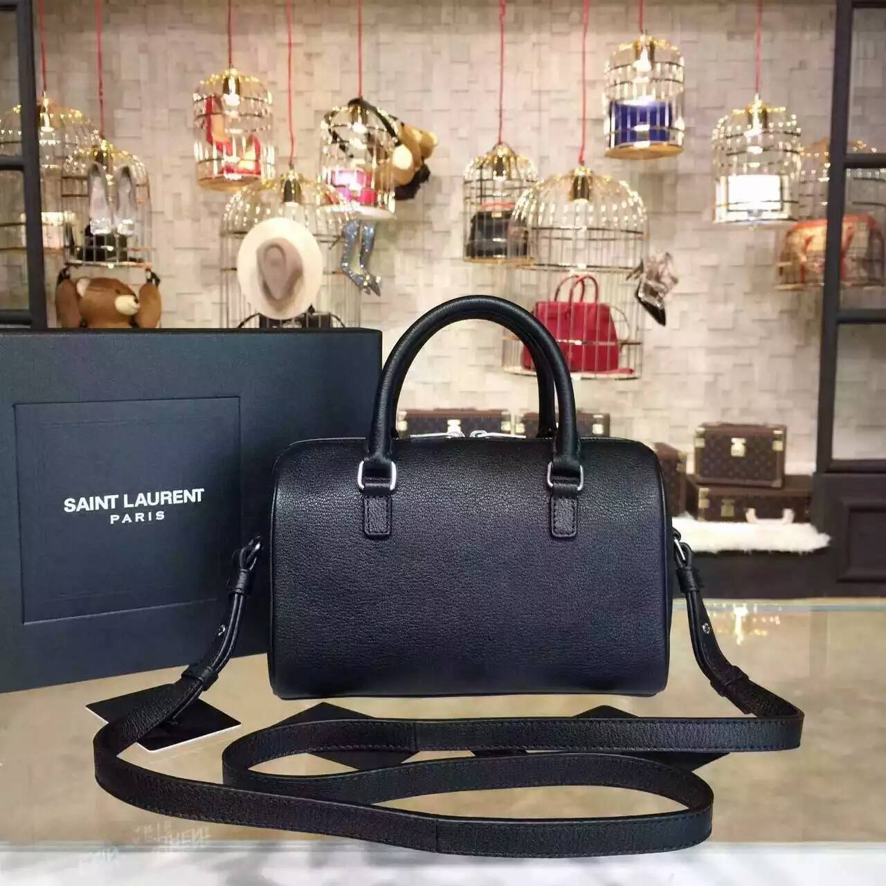 Limited Edition!2015 New Saint Laurent Bag Cheap Sale-Saint Laurent Monogram Cabas Bag in Black Grained Calfskin Leather