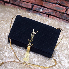 2015 New Saint Laurent Bag Cheap Sale- YSL Chain Bag in Black Nubuck Leather YSL12115