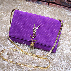 2015 New Saint Laurent Bag Cheap Sale- YSL Chain Bag in Purple Nubuck Leather YSL12116