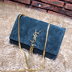 2015 New Saint Laurent Bag Cheap Sale- YSL Chain Bag in Green Nubuck Leather YSL12117