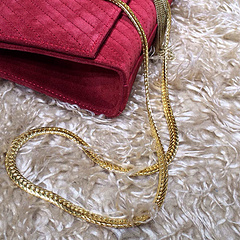 2015 New Saint Laurent Bag Cheap Sale- YSL Chain Bag in Brick Red Nubuck Leather YSL12118