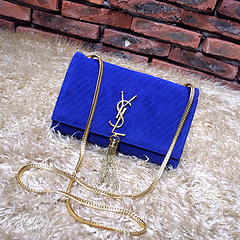 2015 New Saint Laurent Bag Cheap Sale- YSL Chain Bag in Blue Nubuck Leather YSL12118