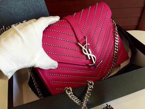 2015 New Saint Laurent Bag Cheap Sale-YSL Classic Monogram Saint Laurent Satchel in Rose Grain de Poudre Textured Matelassé Leather and Silver-Toned Metal Studs