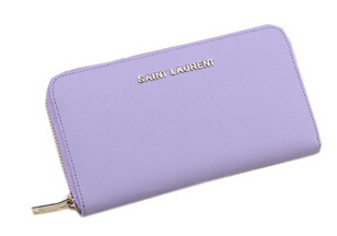 Hot Sale!2015 New Saint Laurent Bag Outlet- YSL Saffiano Leather Zippy Wallet 340841 Light Purple