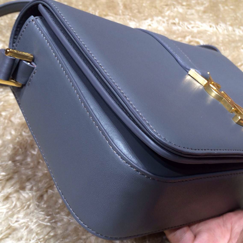 2015 New Saint Laurent-MONOGRAM SAINT LAURENT UNIVERSITE BAG IN Grey LEATHER 25CM