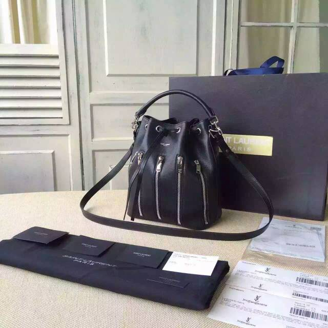 2015 New Saint Laurent Bag Cheap Sale-Saint Laurent Medium Emmanuelle Bucket Bag in Black Leather With Zips