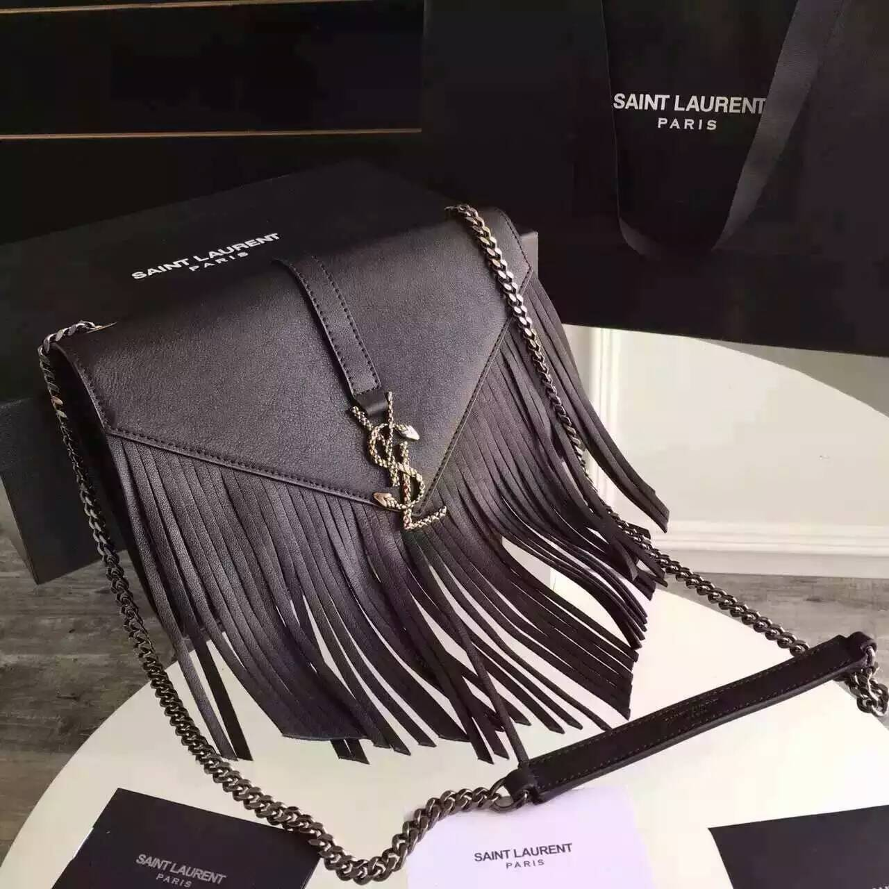 Limited Edition!2016 New Saint Laurent Bag Cheap Sale- Saint Laurent Monogram Fringed Satchel in Black Calfskin Leather