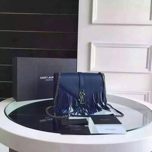 Limited Edition!2016 New Saint Laurent Bag Cheap Sale- Saint Laurent Monogram Fringed Satchel in Blue Calfskin Leather