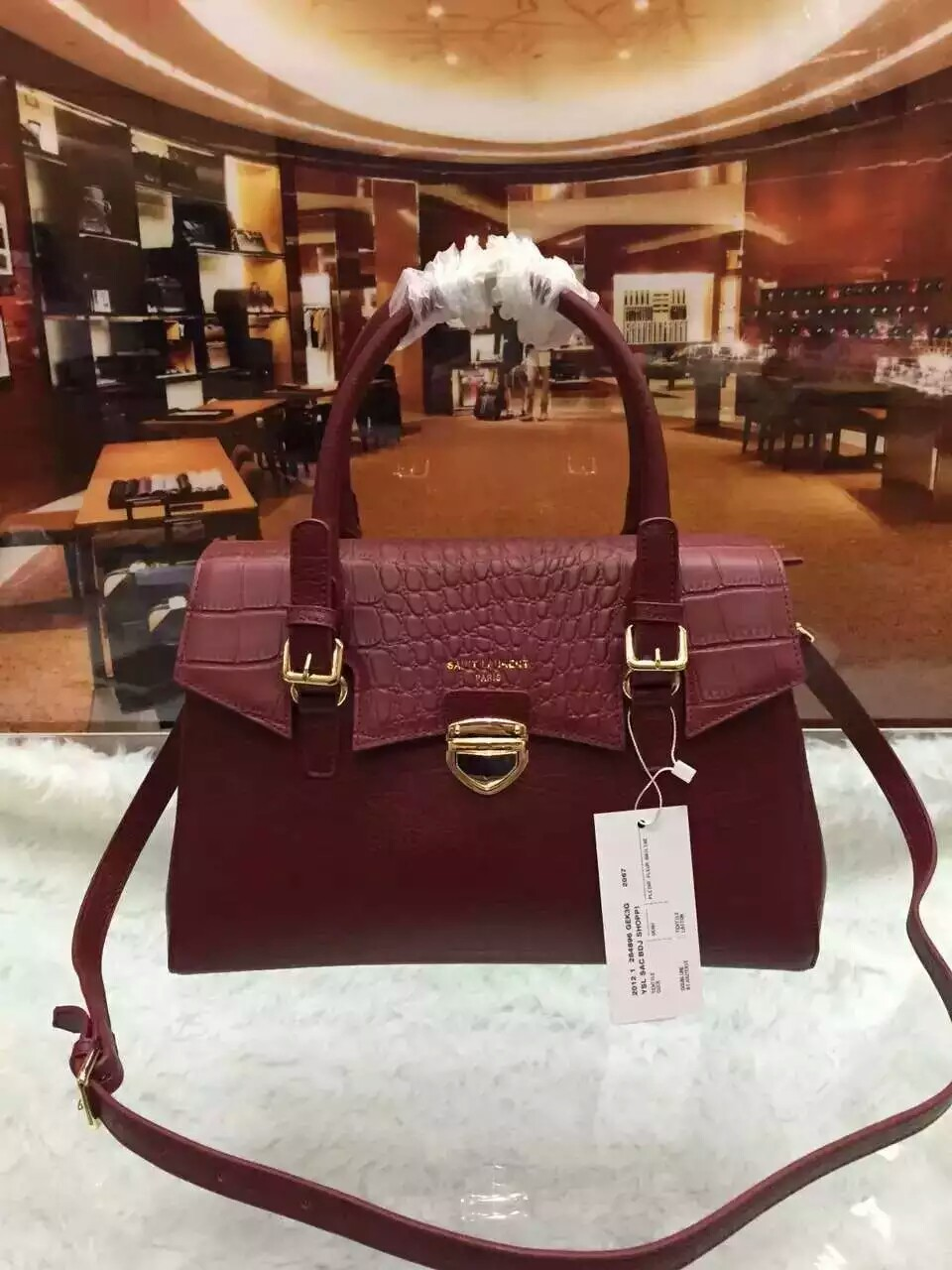 2016 Saint Laurent Bags Cheap Sale-Saint Laurent Shoulder Bag in Burgundy Crocodile Embossed Calfskin Leather