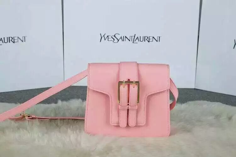 2015 New Saint Laurent Catwalk Collection Cheap Sale- YSL Shouldr Bag in Pink Calf Leather