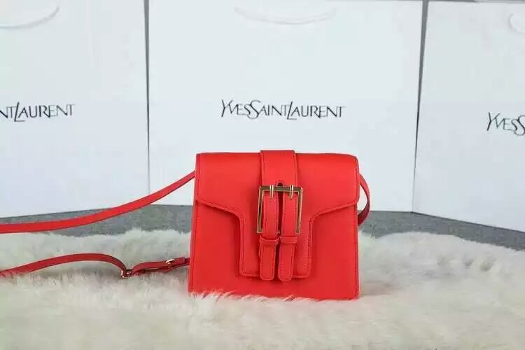 2015 New Saint Laurent Catwalk Collection Cheap Sale- YSL Shouldr Bag in Red Calf Leather