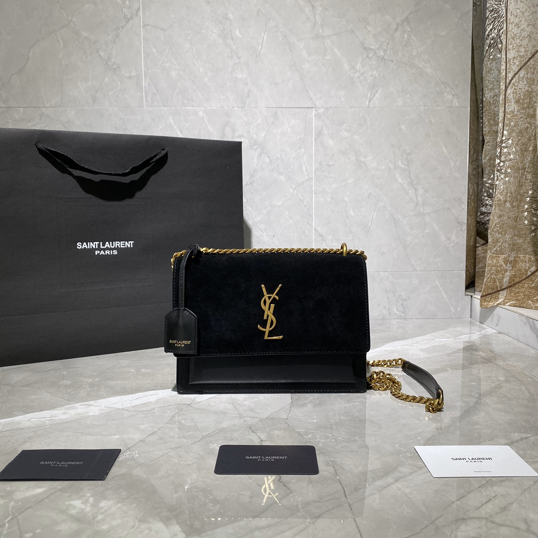 2020 cheap Saint Laurent Sunset Bag black suede leather