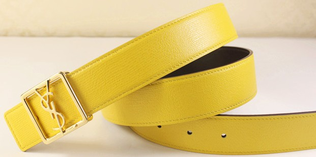 2013 Cheap YSL Leather belt in yellow with gold buckle,Discount Ysl belt on sale