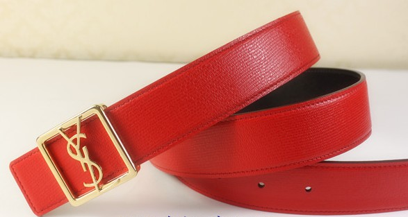 2013 Cheap YSL Leather belt in red with gold buckle,Discount Ysl belt on sale