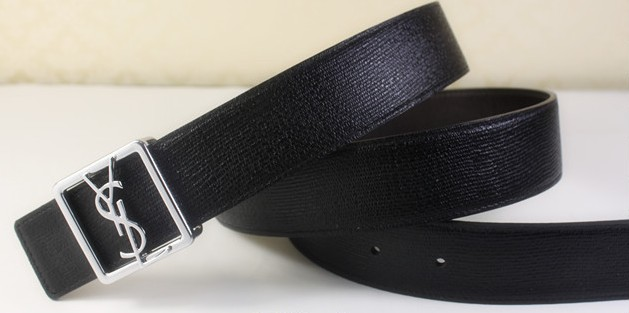 2013 Cheap YSL Leather belt in black with silver buckle,Discount Ysl belt on sale