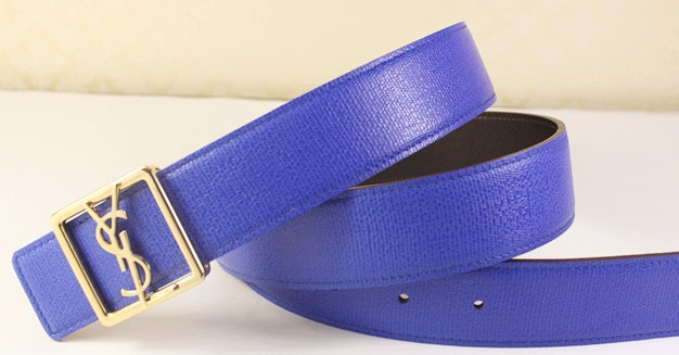 2013 Cheap YSL Leather belt in blue with gold buckle,Discount Ysl belt on sale