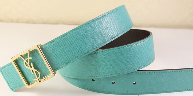 2013 Cheap YSL Leather belt in lake blue with gold buckle,Discount Ysl belt on sale