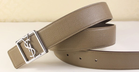 2013 Cheap YSL Leather belt in beige with silver buckle,Discount Ysl belt on sale